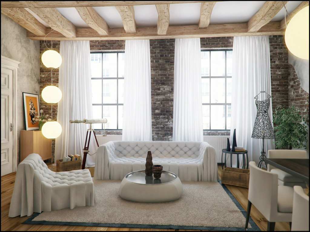 Люстры в стиле модерн в гостиной в стиле лофт
