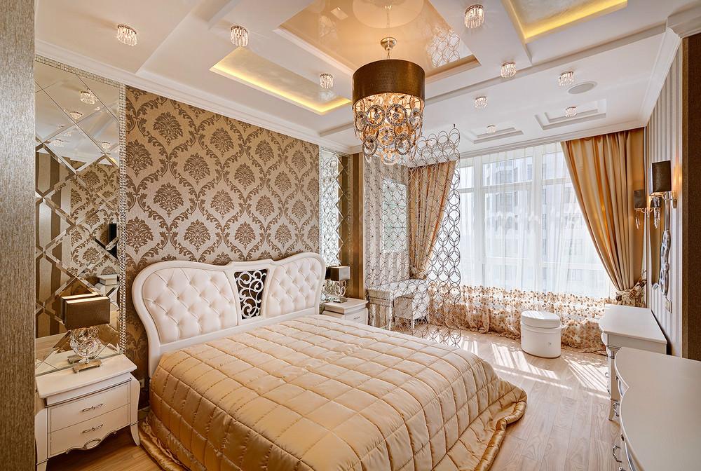 Интерьер спальни в классическом стиле фотография