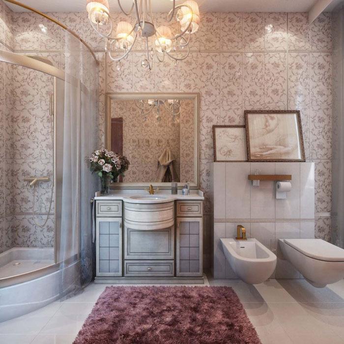 Использование картин в классическом стиле ванн