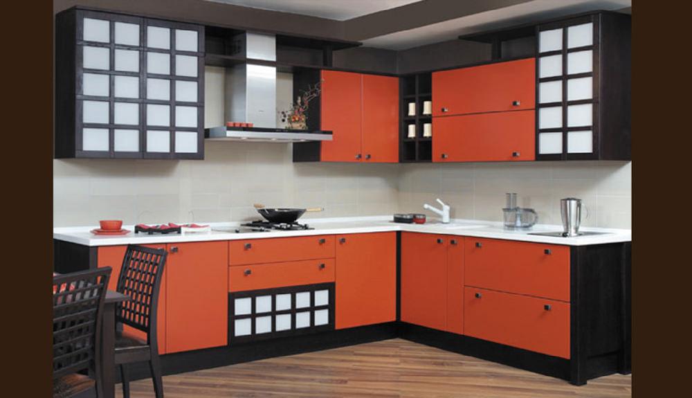 Оранжевые тона кухни