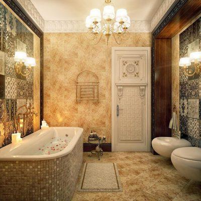 Красивые филенчатые двери для ванн в классическом стиле