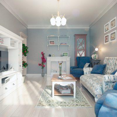 Бело-голубой стиль прованса