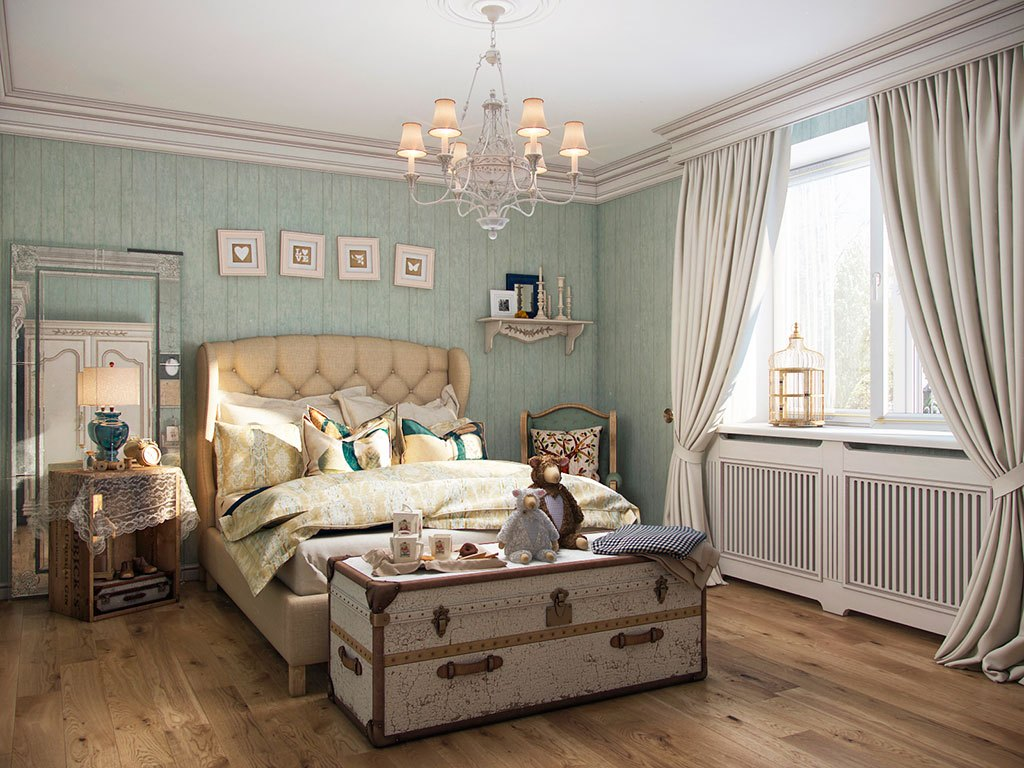 Мебель в интерьере комнаты в стиле кантри