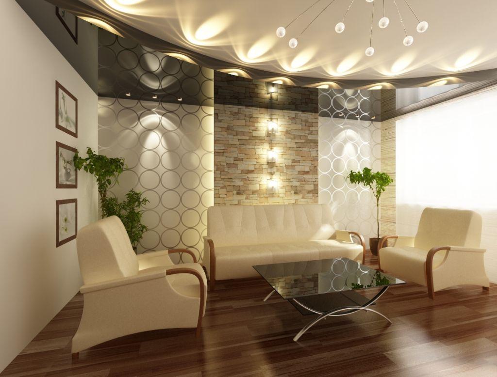 Световой дизайн помещения в гостиной в стиле модерн