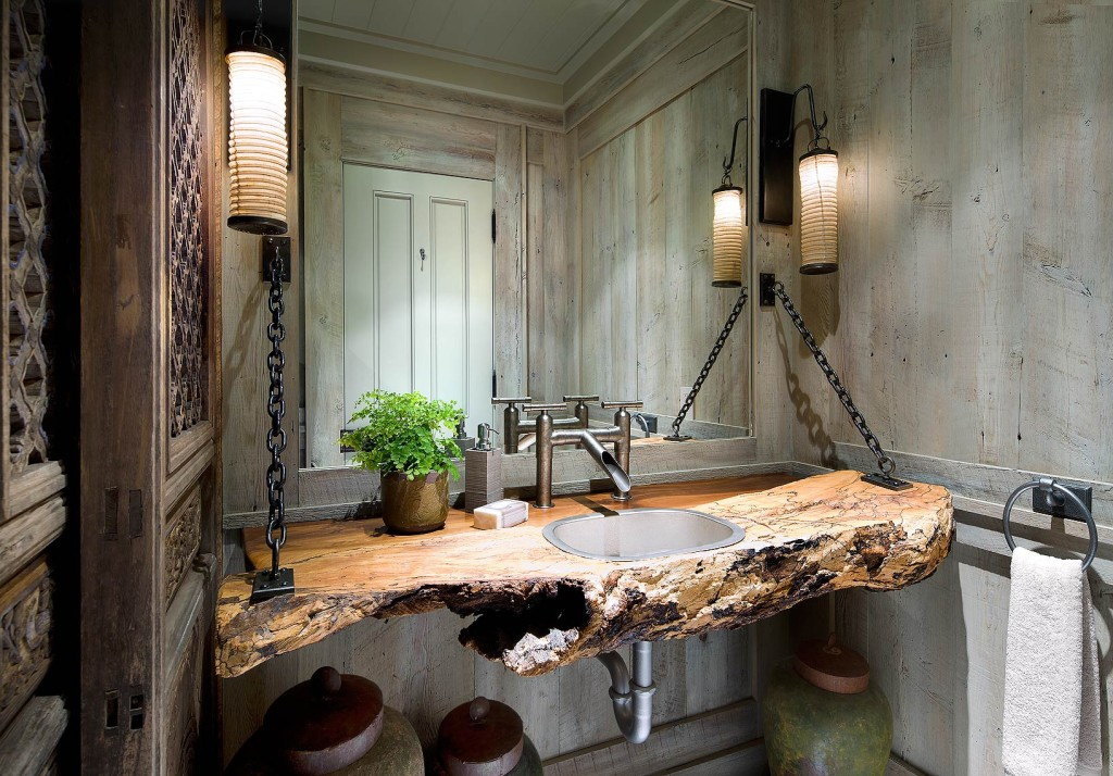 Отделка стен ванной в стиле лофт