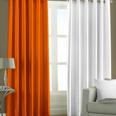 Оранжево-белые шторы