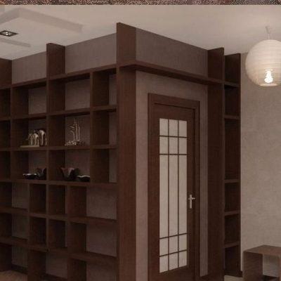 Темный япоский стиль коридора