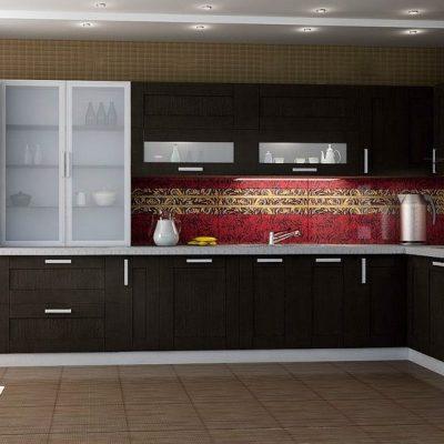 Стильная коричневая кухня