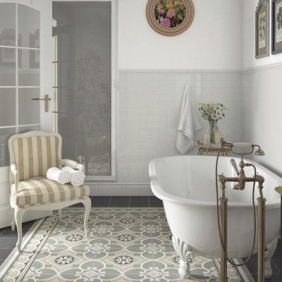 Серая плитка для ванной в стиле кантри