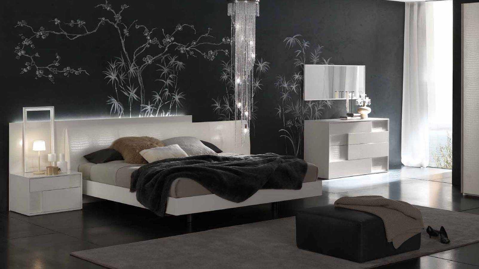 Стены в спальне в современном стиле