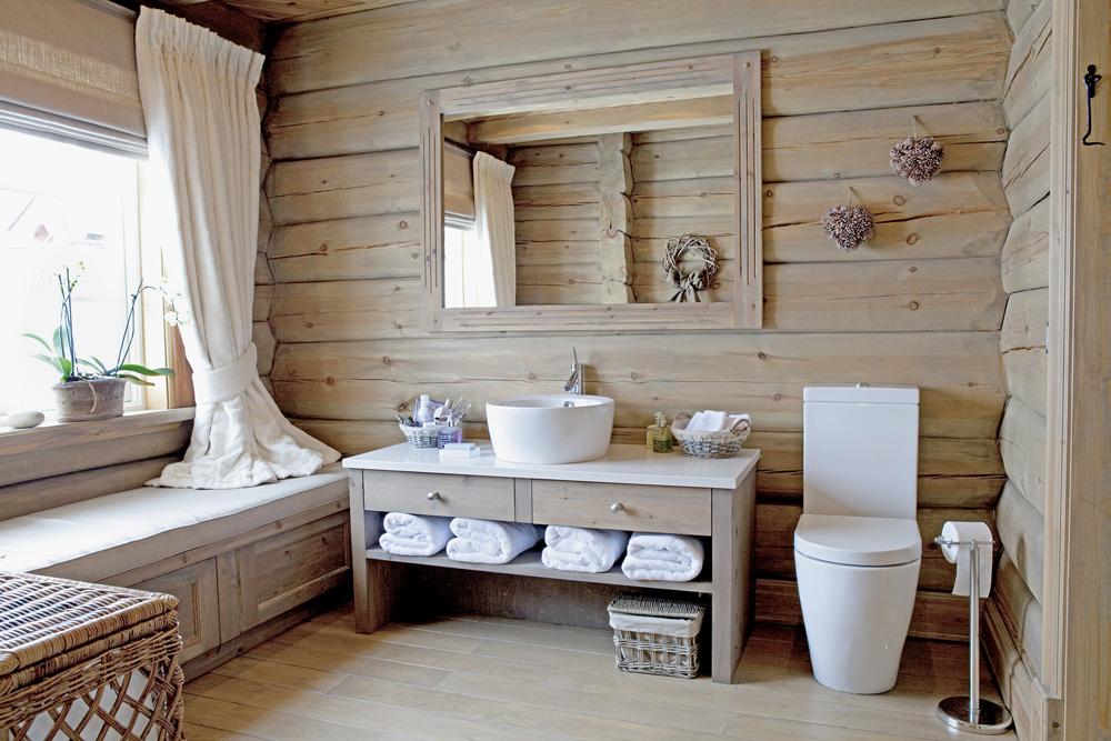 Текстиль в ванной в стиле кантри