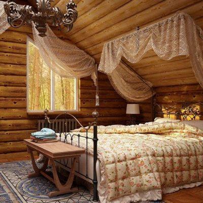 Уютная и теплая спальня в стиле кантри