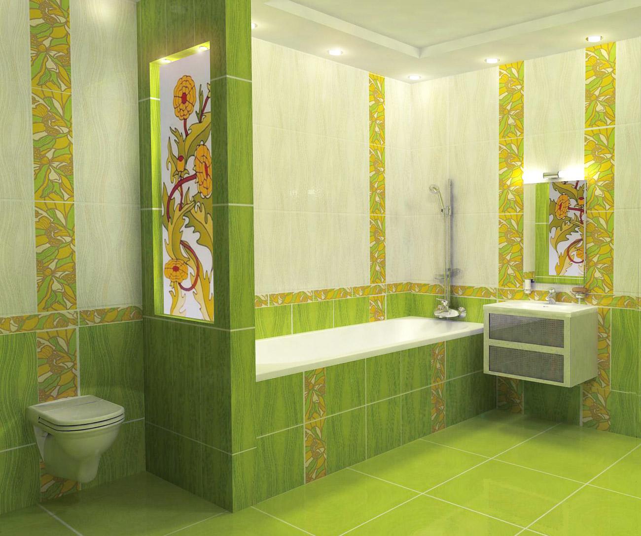 Ванная комната с декором кафельной плиткой