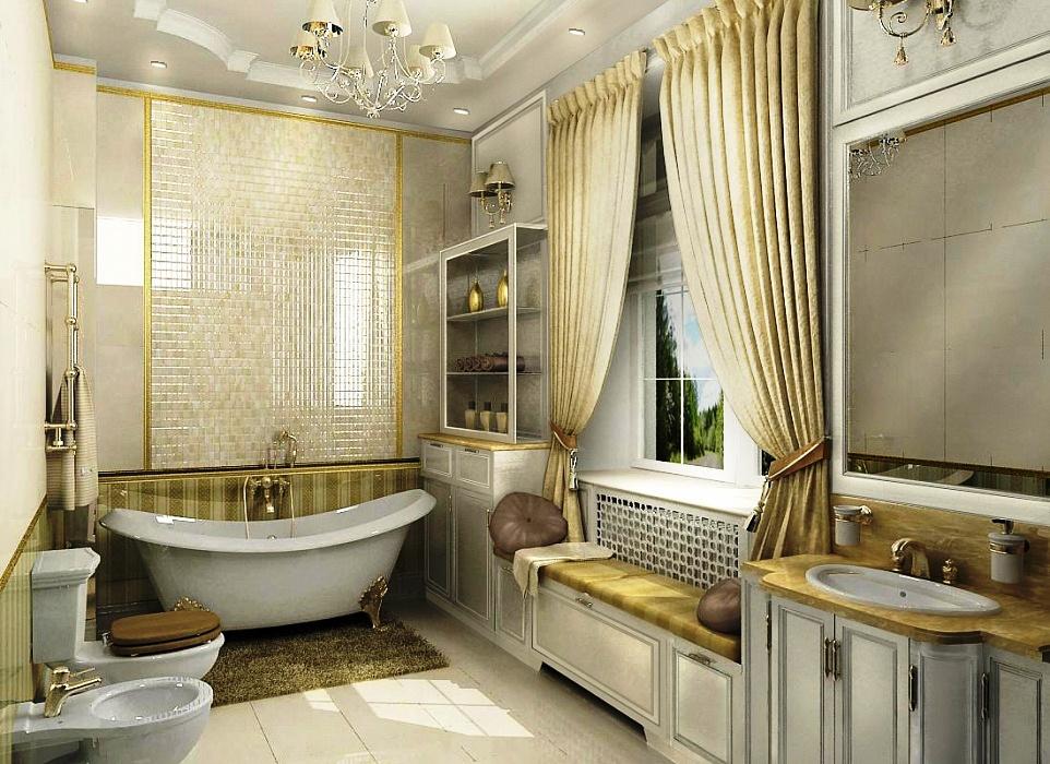 Ванная комната в классическом стиле с окном фото
