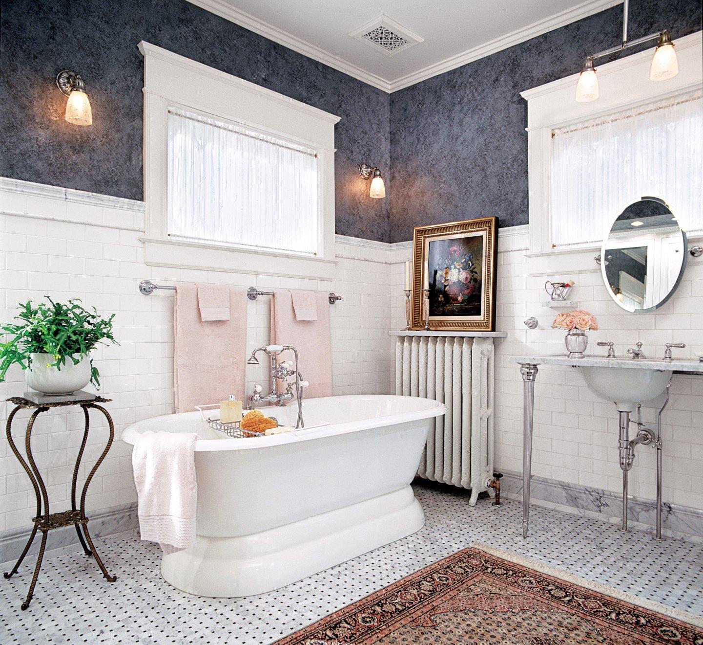 Плитка на стене в ванной в викторианском стиле