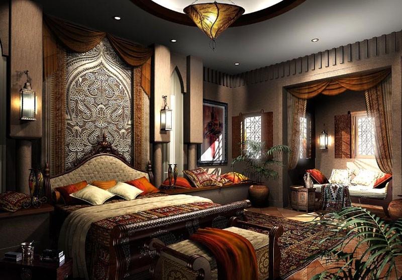 Спальня в восточном стиле - экзотика в городской квартире