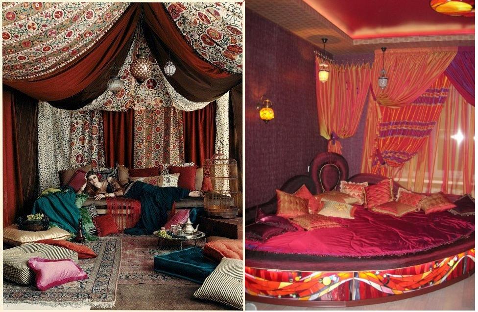 Драпировка и подушки для спален в арабском стиле