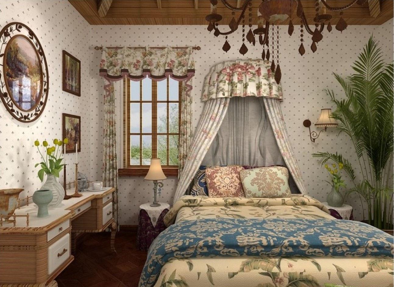 Для спальни в стиле кантри характерна кровать с пологом