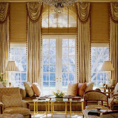 бежевые тона в интерьере классической гостиной