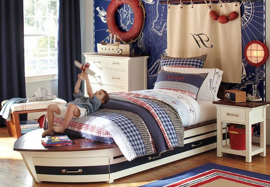 Кровати–лодки в морском стиле