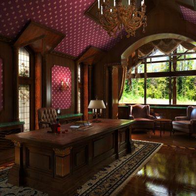 Благородные цвета в кабинете в английском стиле