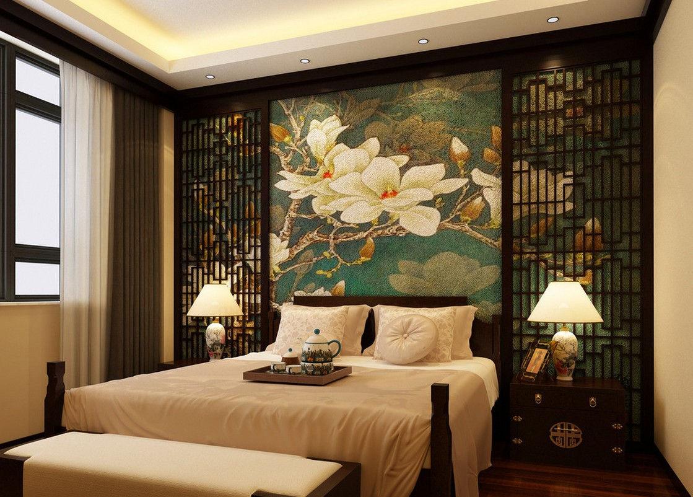 Можно сделать яркий акцент с помощью инсталляции в китайском стиле на всю стену