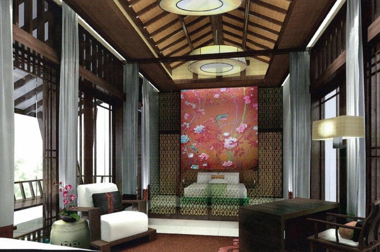 Полупрозрачные перегородки с ненавязчивым узором - стильная деталь в интерьере спальни