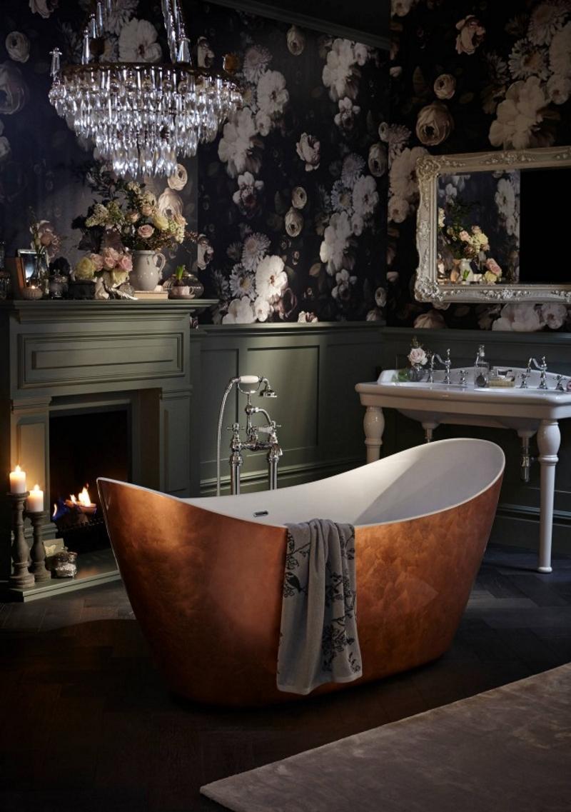 Оформление стен в ванной в викторианском стиле