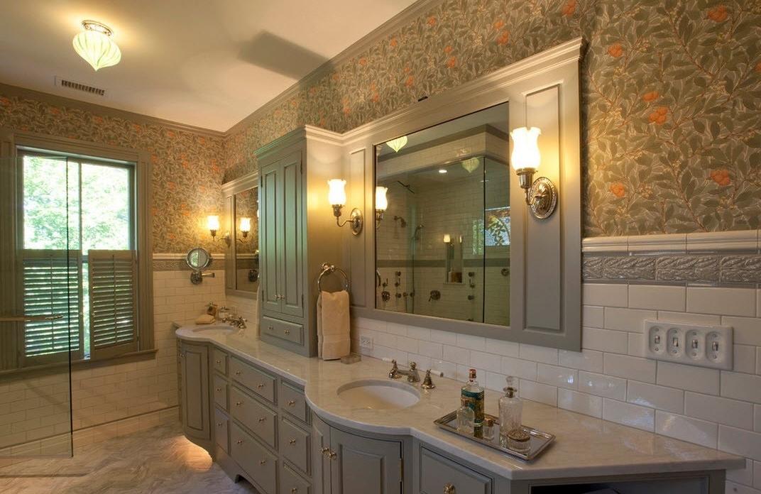 Визуальное горизонтальное деление стен в ванной