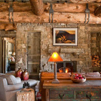 Деревенский интерьер в гостиной