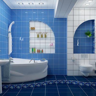 Дизайн ванной в сине-бело-голубой гамме