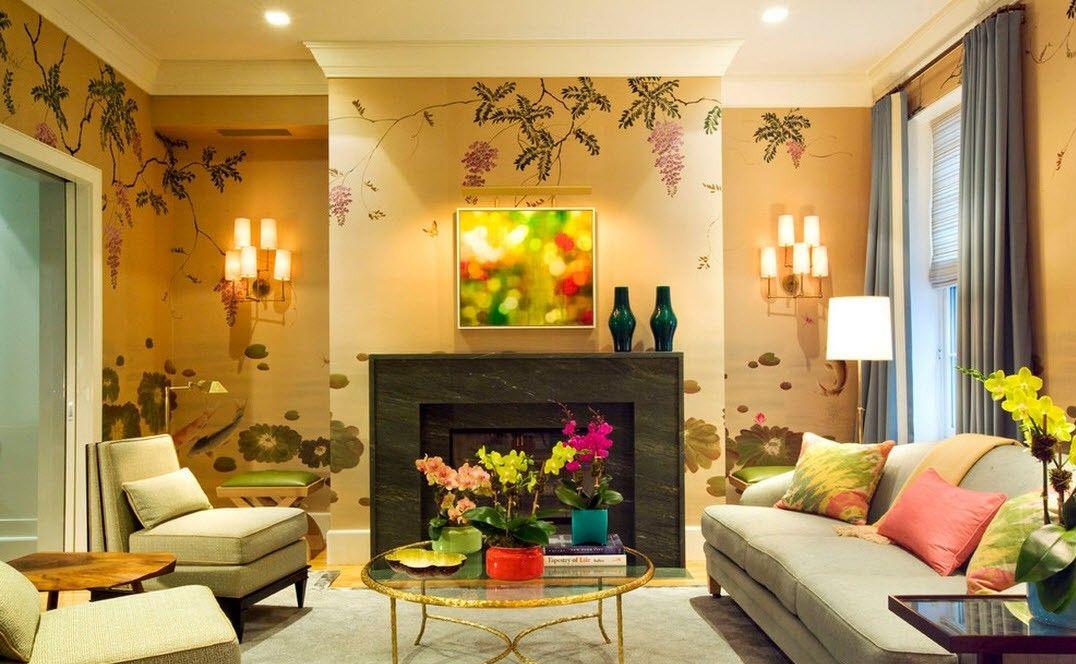 Тёплое освещение в гостиной в стиле модерн