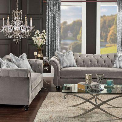 Мебель из кожи серого цвета