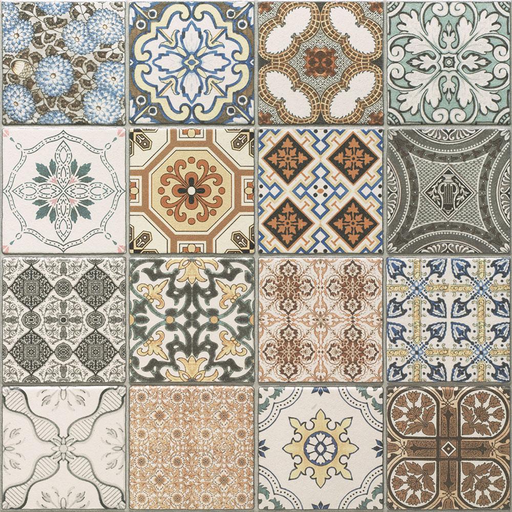 Плитка в стиле пэчворк с геометрическими фигурами и фракталами