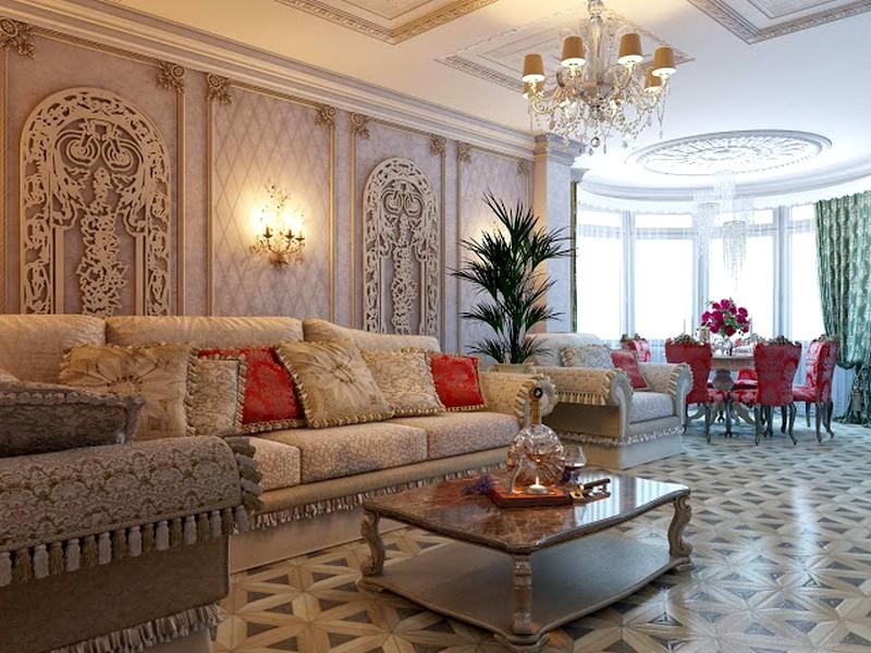 Гостиная в классическом стиле с яркими акцентами