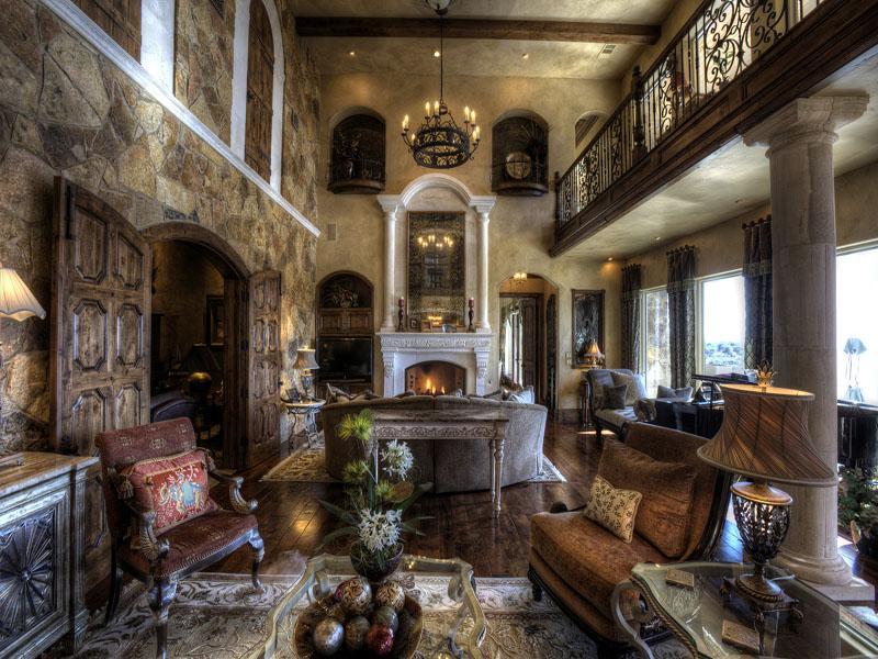 Комната в гостиной в стиле средневековой готики