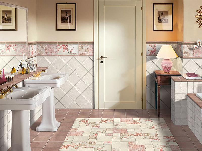 Имитация ковра плиткой в стиле пэчворк в ванной