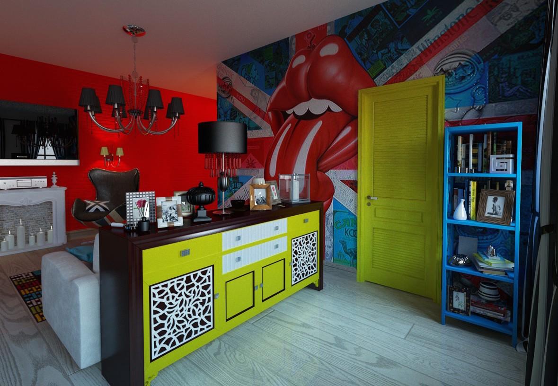 Кислотные цвета в интерьере в стиле поп-арт
