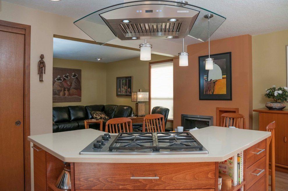 оформление потолка на кухне