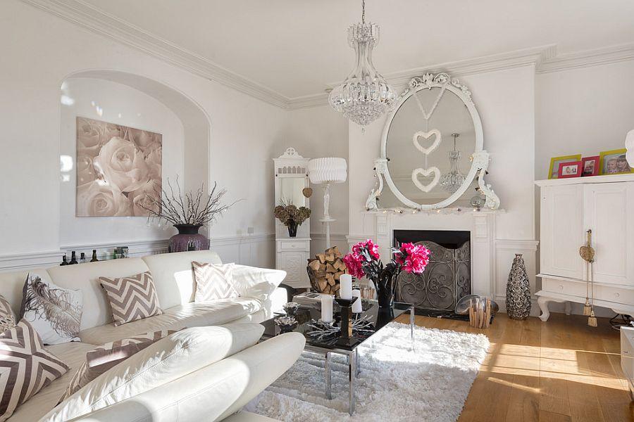 Цветовая гамма стиля шебби шик включает в себя два основных цвета, это белый и розовый