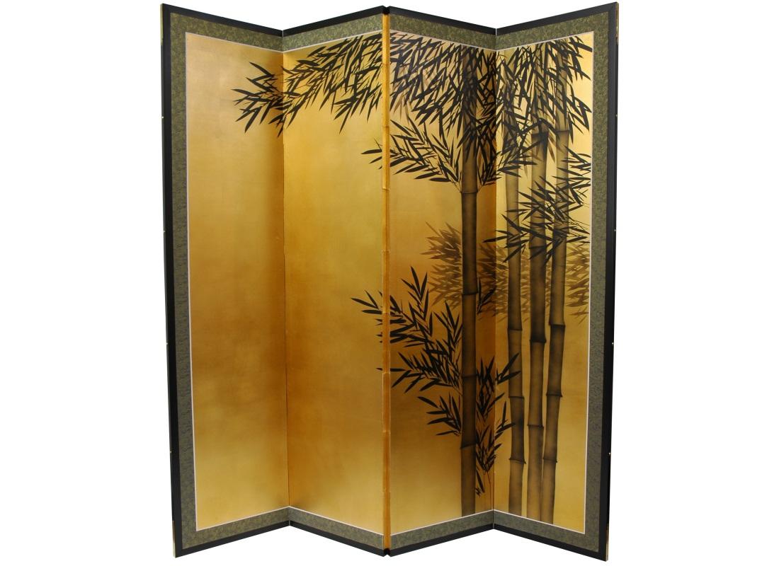 Золотая ширма с рисунком бамбука