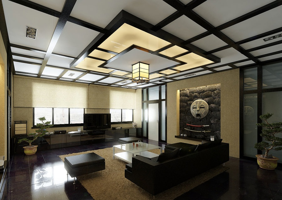 На потолке в классической китайской комноте чаще всего можно увидеть конструкции из перекрещенных темных балок