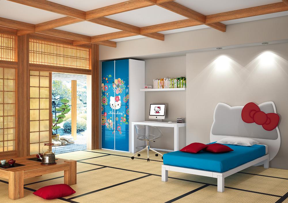 В отличие от комнаты для взрослых в японском стиле, в оформлении детской допустимы яркие жизнерадостные акценты