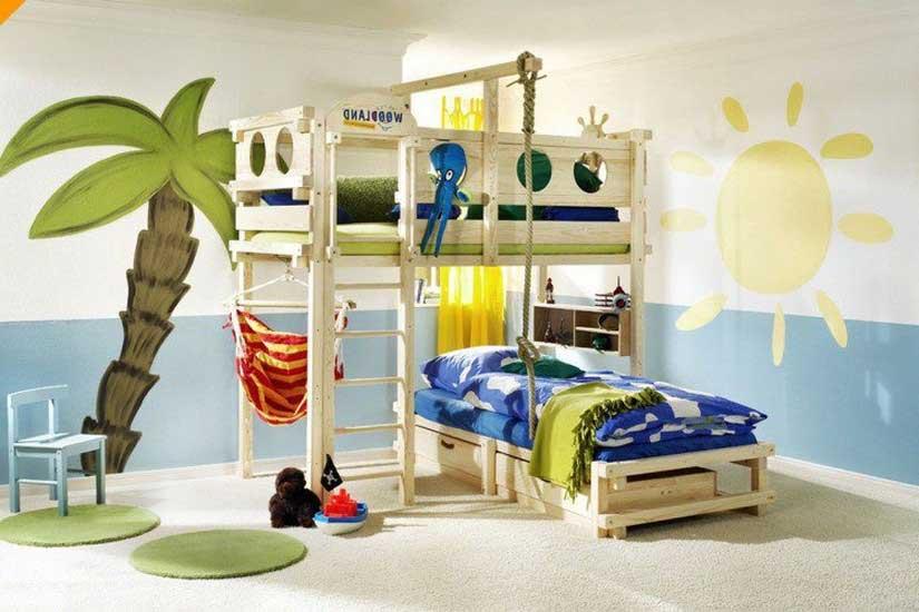Кровать — пляжный домик в детской