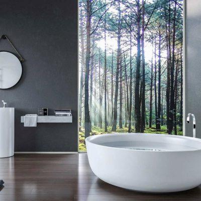 Круглая ванна и раковина