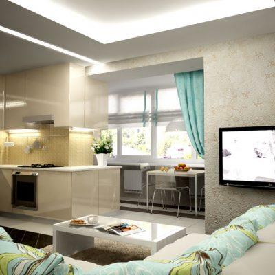 Расширение кухни-студии за счёт балкона