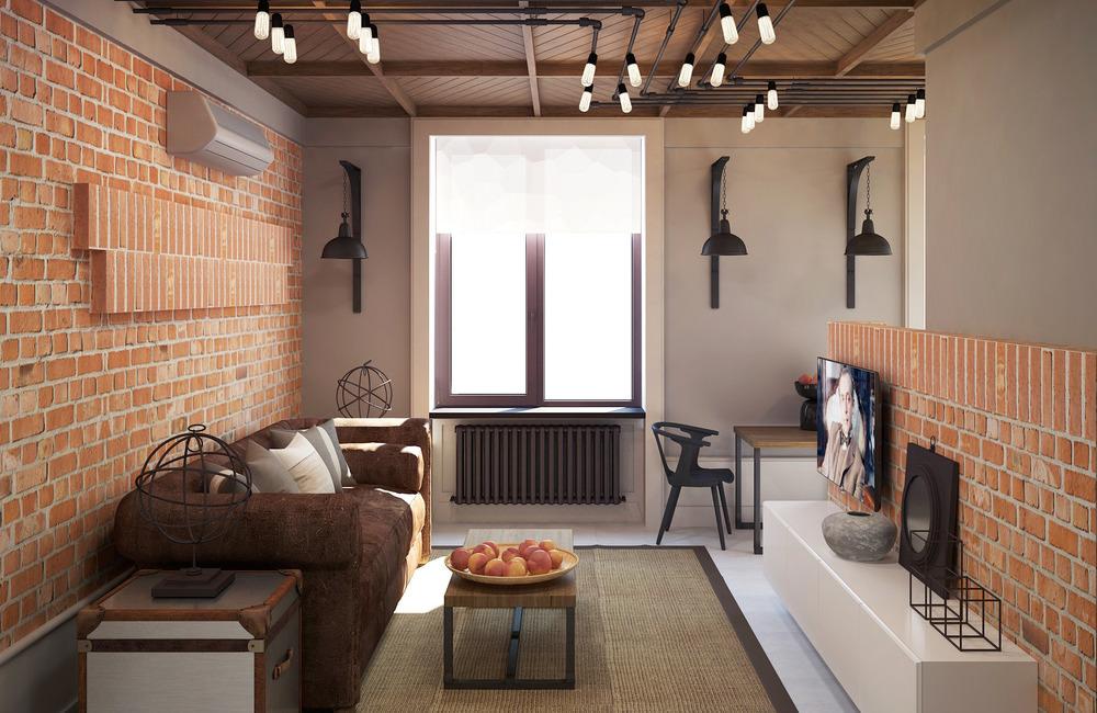 Не смотря на то, что изначально лофт предполагал наличие просторного помещения с высокими потолками, оформить гостиную в этом стиле можно и в маленькой квартире