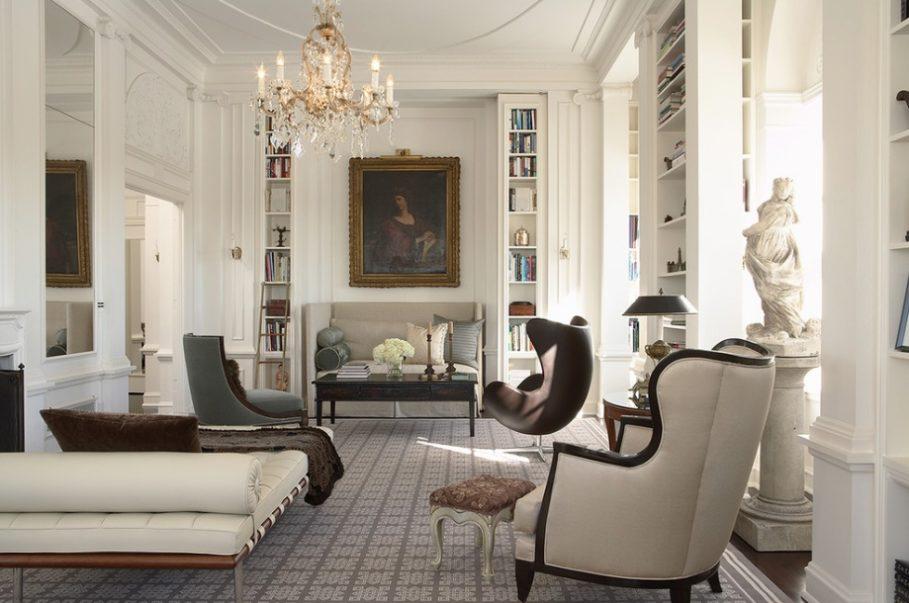 Интерьер модерн предполагает обилие мебели и аксессуаров