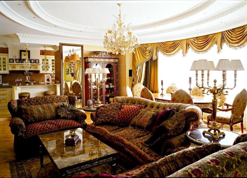 Роскошная и элегантная гостиная в классическом стиле