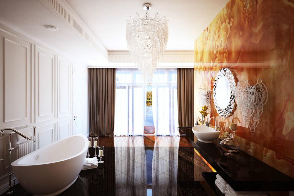 Использование в ванной в темных и огненных цветов